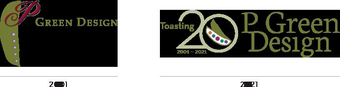 P Green Design Logos - 2001 and 2021